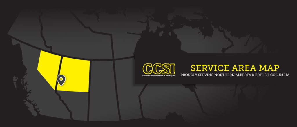 Custom Communications and Security Northern Alberta and British Columbia Service Area Map