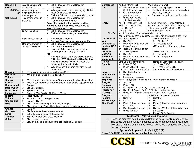 SL1100 Telephone System Cheat Sheet