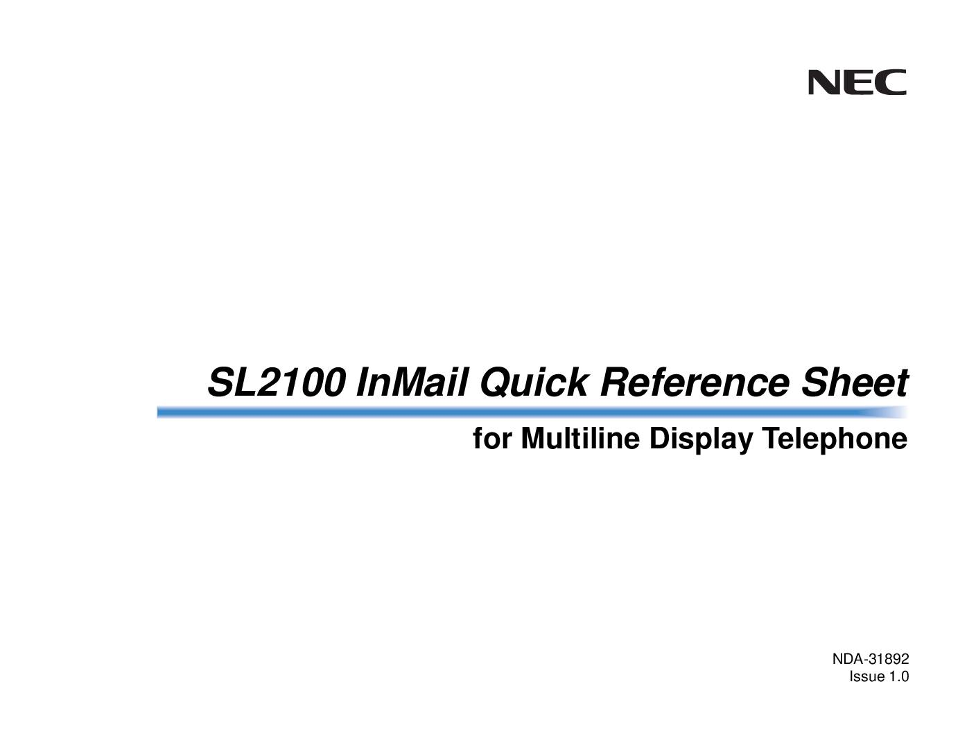 SL2100 InMail Reference Sheet for MultilineTel