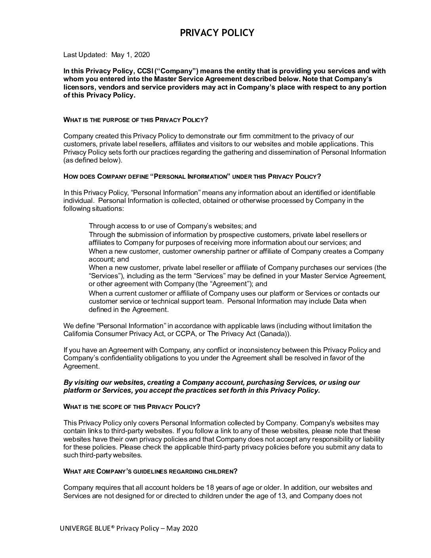 Univerge Blue & CCSI Privacy Policy-April 2021